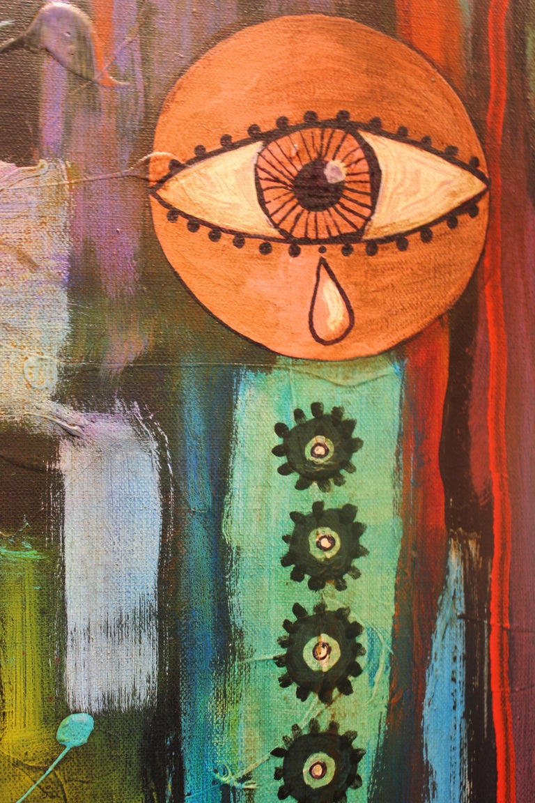 Abstract Surrealist Painting with a Female Figure For Sale 3