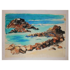 """Rocky Shore"" Beach Impressionist  Landscape"