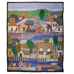 """Harbor Front"" Folk Cityscape Tapestry"