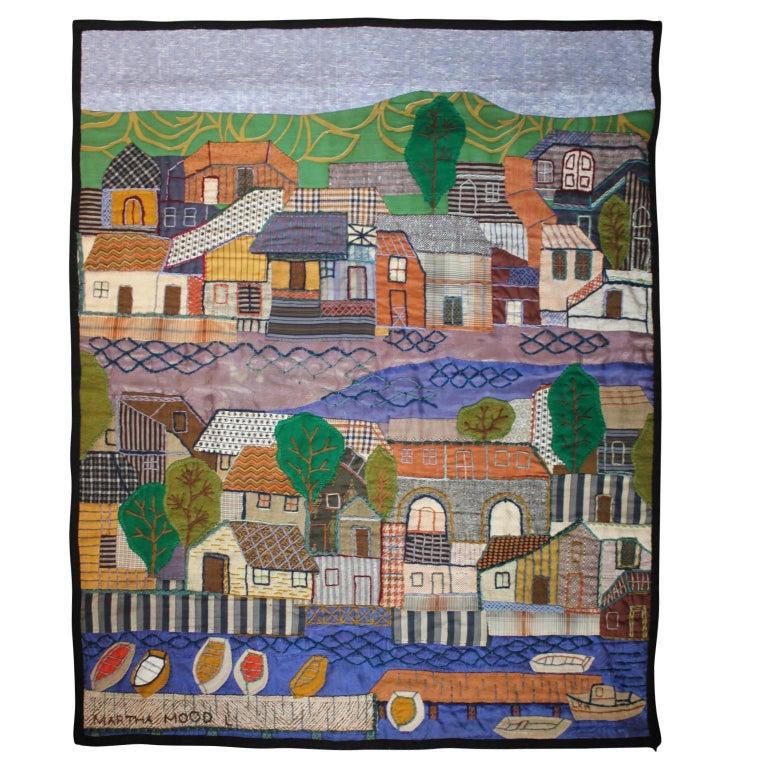 """""""Harbor Front"""" Folk Cityscape Tapestry  - Mixed Media Art by Martha Mood"""