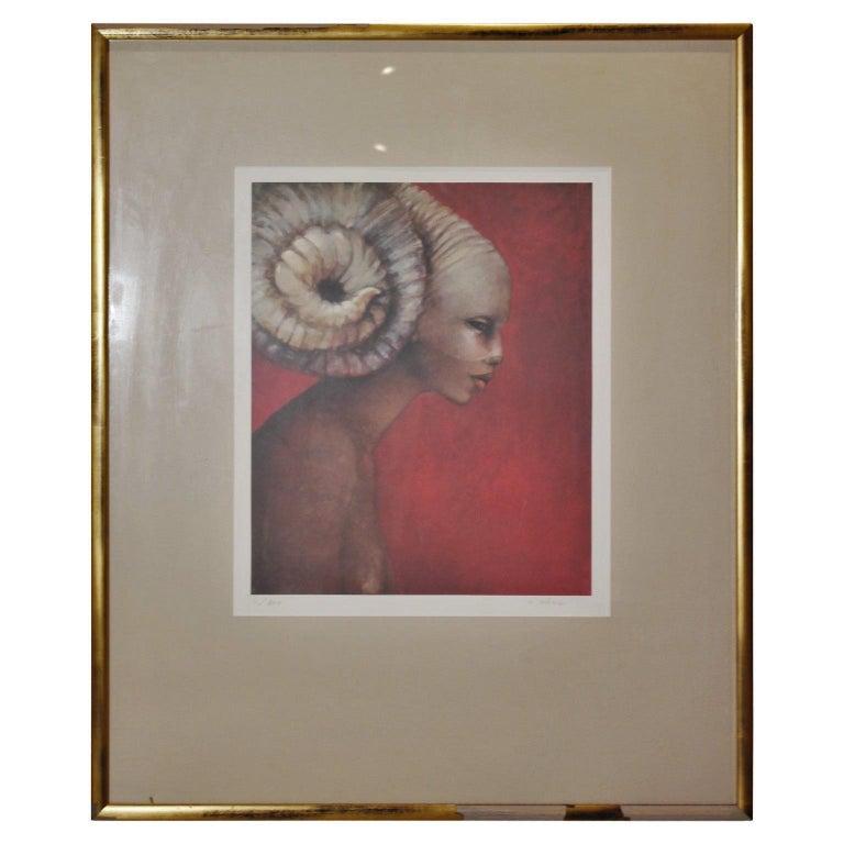 "Michele Salmon Figurative Print -  ""The Woman Ram"" Profile Portrait Edition 4 of 200"