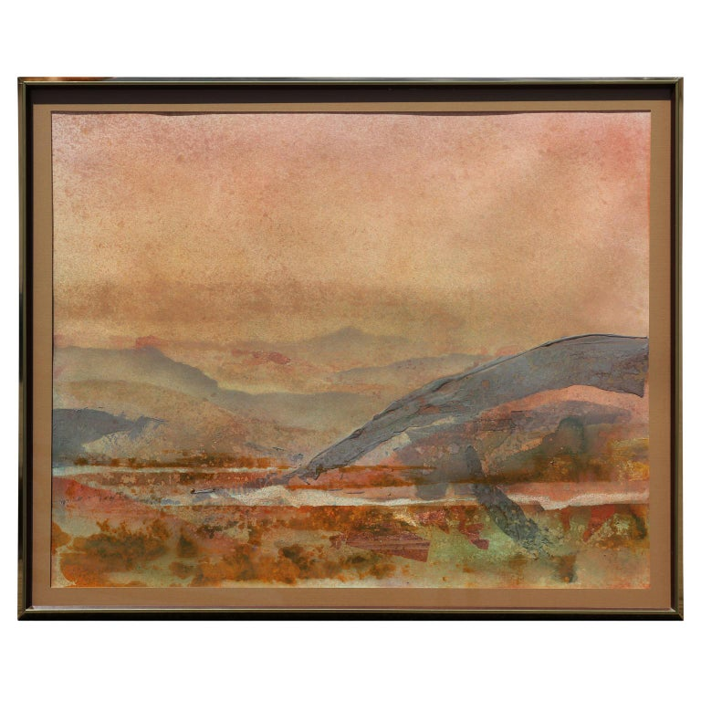 Brent Millar Abstract Drawing - Impressionist Earth Tonal Mountain Landscape