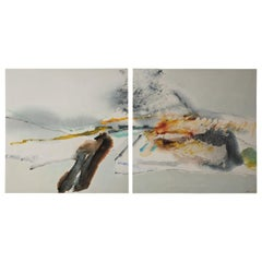 Large Contemporary Chinese Gestural Abstract Landscape Diptych