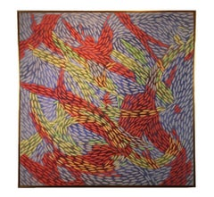 """Atitlan"" Primary Color Pointillism Swirling Abstract"