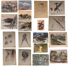 Lot of 17 James Woodruff Landscape, Abstract and Figurative Paintings