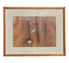 Untitled Surrealist Brown Tone Watercolor Abstract of Flowers and Animals