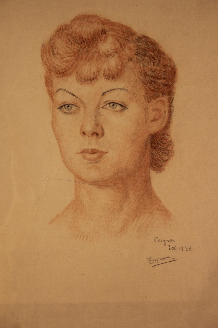 Early Portrait of a French Woman - Naturalistic Art by Emile Lejeune