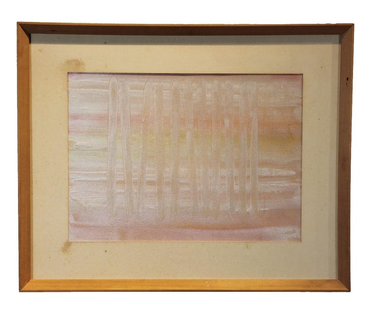 Unique pastel-colored watercolor painting with a shimmer. The work is in light pinks and yellows. The work is signed by the artist on the back and dated.  Dimensions without Frame: H 10.5 in x W 14.5 in.  Artist Biography: Roberta Harris was born in
