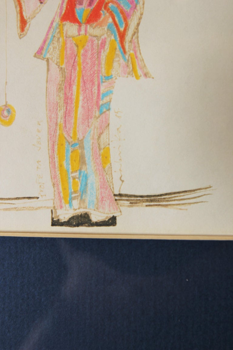 Color pencil drawing of a Dali like figure holding out a pendulum for the viewer to see. The work is signed and titled by the artist. It is framed in a black frame with a blue and pink matte.  Dimensions without Frame: H 8.5 in x W 8.5 in.