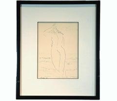 """Carolena"" Figurative Ink Drawing Nude Study"