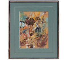 Figurative Abstract Sumbatism Painting in Gouache