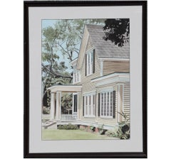 Realistic Perspective Architectural Galveston House Watercolor Painting