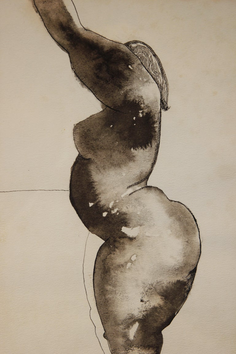 Nude Female Figure Black and White Pencil Drawing - Abstract Art by Unknown
