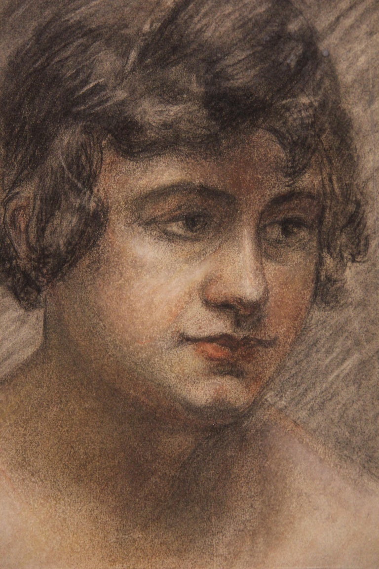 Naturalistic color pencil portrait of a woman. The paper is not framed. Louise-Jeanne Cottard Fossey was a French artist born in 1902 and died in 1983. She was known for painting landscapes, watercolor, and nudes.