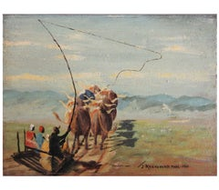 """Mid Summer Journey on Sledge"" Impressionist South African Painting"