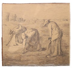 "(After) ""The Gleaners"" Ink Drawing Painting Study"