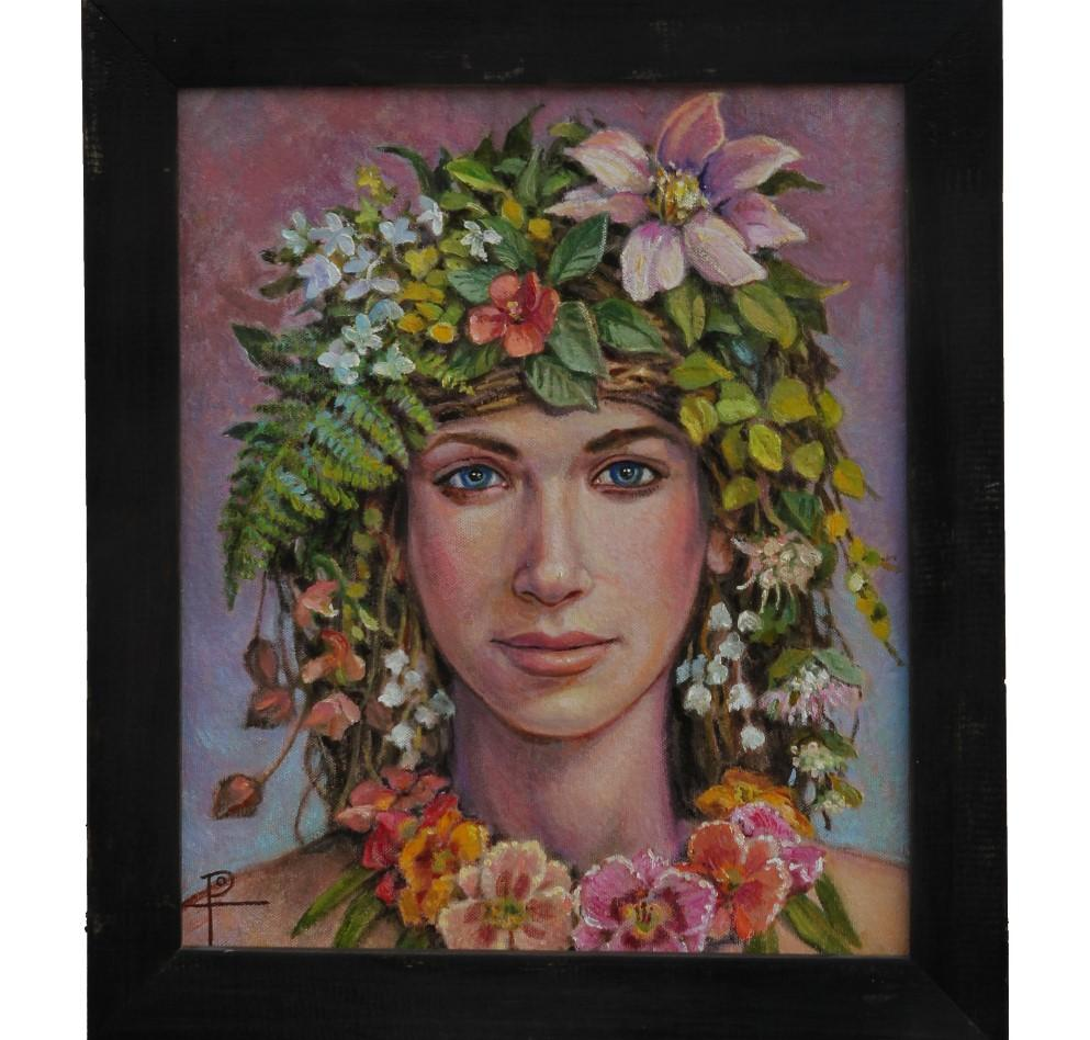 """""""Flower Girl"""" Naturalistic Contemporary Portrait of a Girl"""