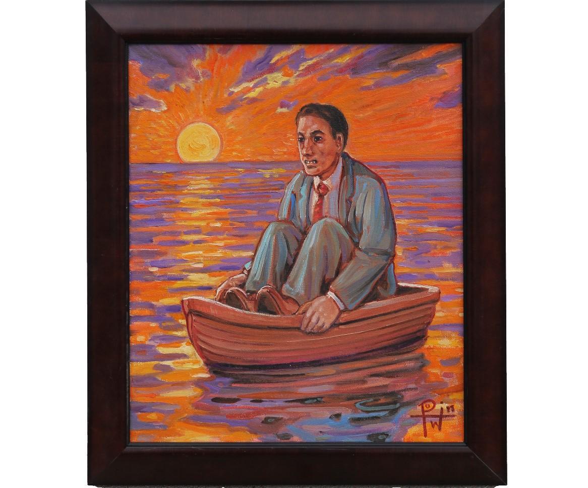 """Adrift"" Contemporary Figurative Seascape Painting"