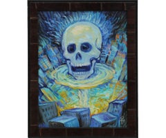 """SOS"" Contemporary Surrealist Blue Tonal Painting"