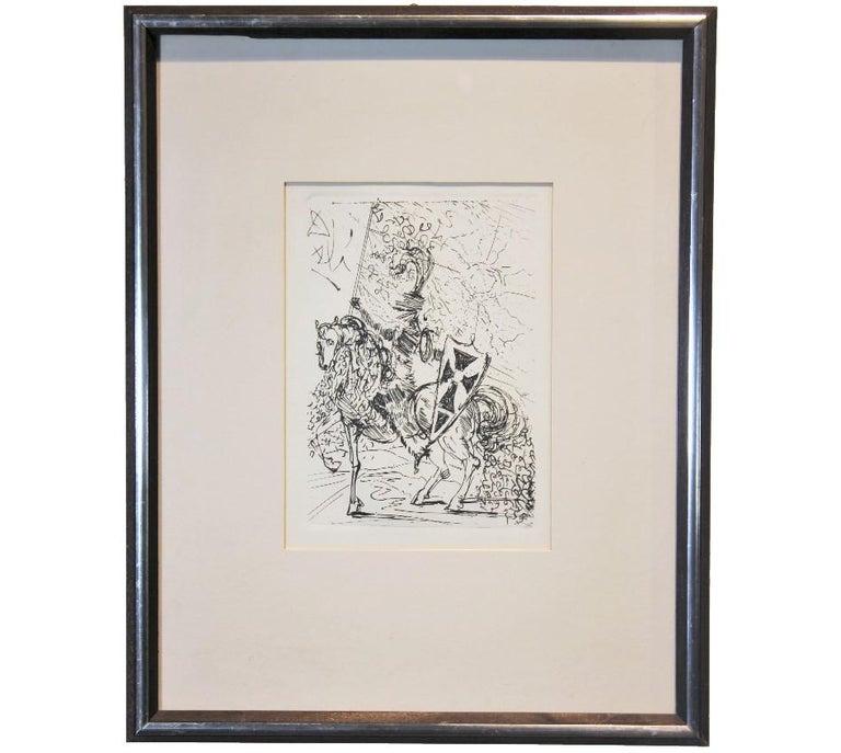 "Salvador Dalí Figurative Print - ""El CID"" Surrealist Jousting Figure"