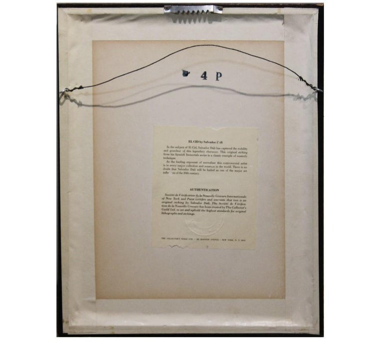 Etching by Salvador Dali of a man jousting. The work was reprinted by the Collector's guild. The work is framed in a silver frame with a white matte. Dimensions without Frame: 8.5 in x 6.5 in    Artist Biography: Salvador Dali was a Spanish