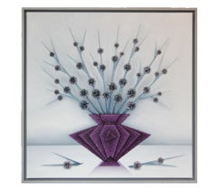 """""""Purple Vase with Flowers"""" Crushed Glass Contemporary Still Life Painting"""