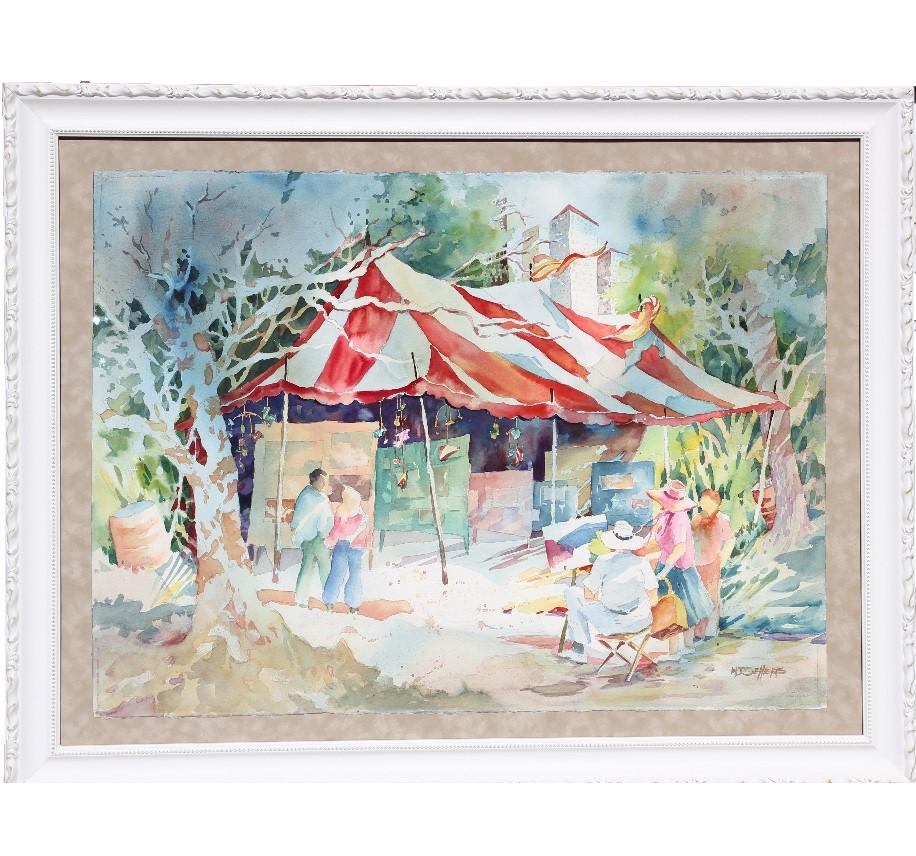 """""""Art Show in the Park"""" Impressionist Figurative Landscape Watercolor Painting"""