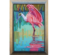 """""""Wading Rosette Spoonbill"""" Colorful Impressionist Style Bird Painting"""
