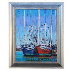"""Gulf Shrimper"" Coastal Landscape with Boats"