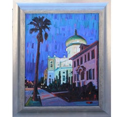 """Sacred Heart Church"" Galveston Architectural Landscape Painting"