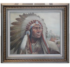 """Native American Chief"" Portrait Painting"