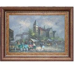"""Paris Scene"" Impressionist French Market Street Scene"
