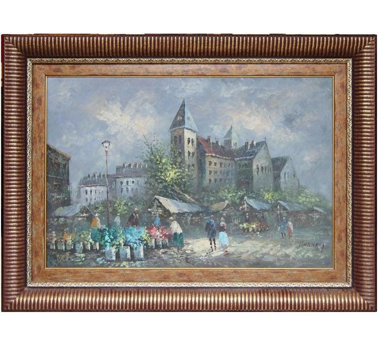 "Caroline Burnett Landscape Painting - ""Paris Scene"" Impressionist French Market Street Scene"