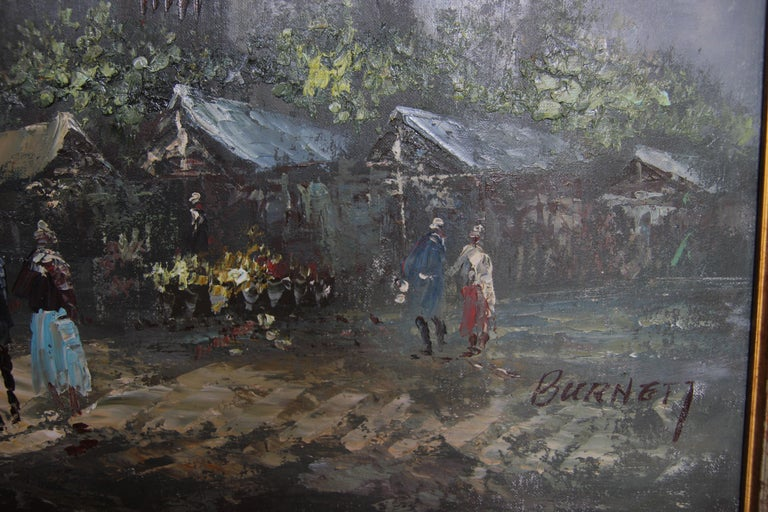 Impressionist style market street scene in Paris. The painting has neutral tones with pops of blues and greens. The painting is signed by the artist in the bottom corner. It is framed in a gold frame. Dimensions without a Frame: H: 24in x W: 30in.