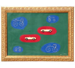 Large Mixed Media Minimal Abstract with Toy Cars