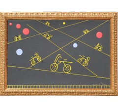 Large Black and Yellow Minimal Abstract Painting with Bicycles