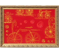 Red Minimal Large Abstract Painting with Bicycles