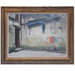 """""""Blue Awning"""" Architectural Impressionist Style Painting"""