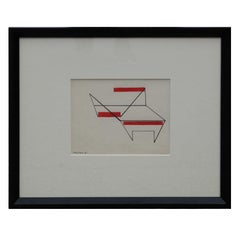 Minimal Geometric Abstract Drawing with Red Accents
