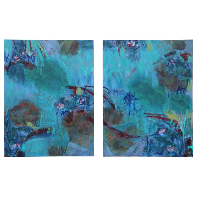 """""""Color My World"""" Gestural Contemporary Abstract Expressionist - Painting by Susan Simpson"""