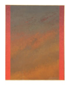 """Kagbeni"" Modern Large Orange and Red Colorfield Abstract Painting"