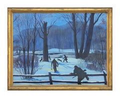 Impressionist Style Hunters in the Snow Winter Landscape Painting