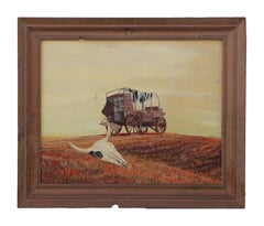 Naturalistic Western Landscape with Wagon and Cow Skull