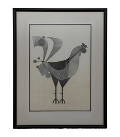 Modern Geometric Ink Drawing of a Rooster