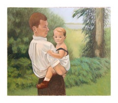 """Father and Son"" Portrait Painting with Landscape"