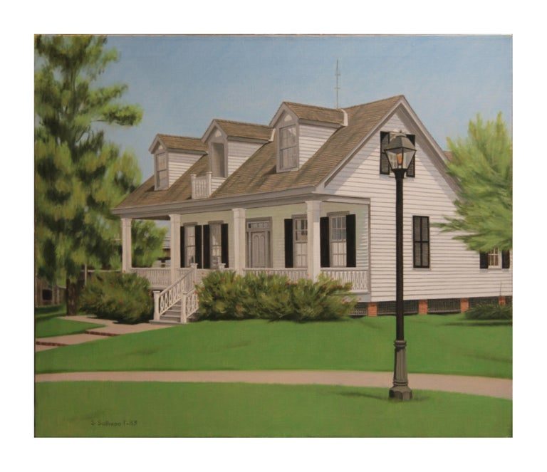 Naturalistic painting of a house at Sam Houston Park. The painting is signed, titled and dated by the artist. The canvas is not framed.  Artist Biography: Stella Sullivan was born in Houston, Texas. She earned her degree in architecture from Rice
