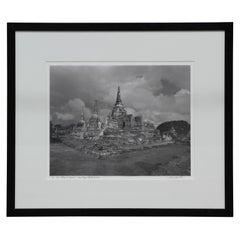 """Wat Phra Si Sanphet"" Black and White Landscape Photograph"