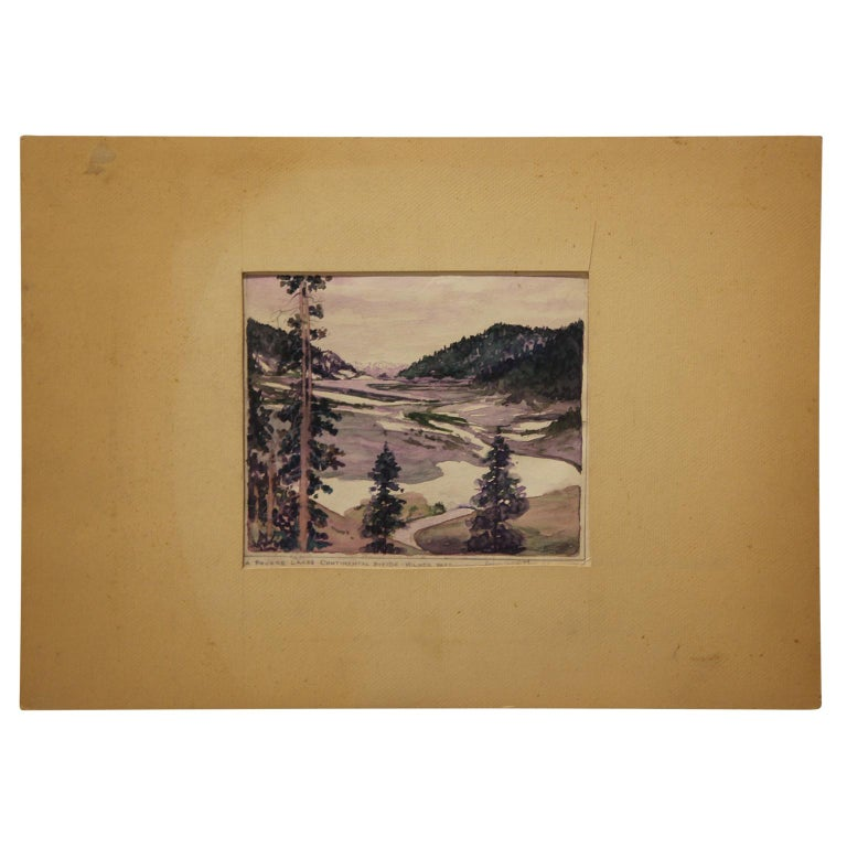 """Harry Worthman Landscape Painting - """"A Poudre Lakes - Continental Divide - Milner Pass"""" Early Watercolor Landscape"""