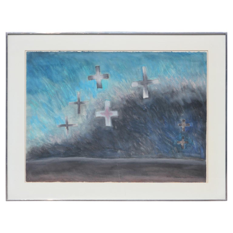Peter Keefer Abstract Painting - Modern Abstract Watercolor Blue Cross Landscape
