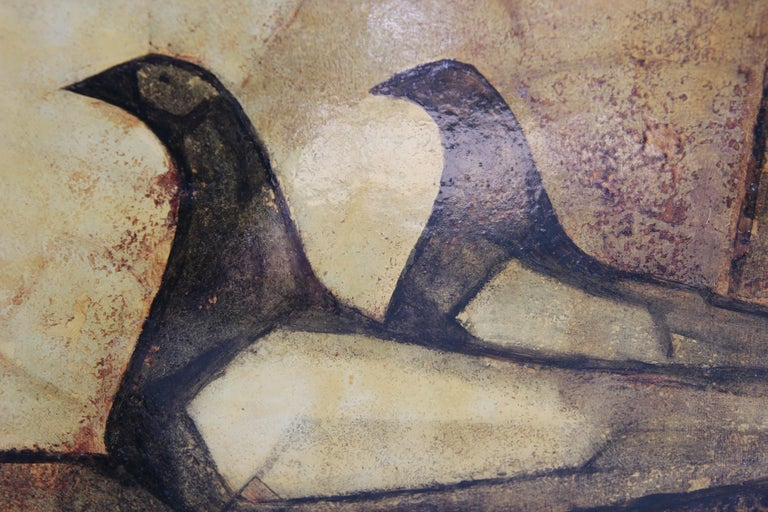 Modern Abstract of Birds in Neutral Tones - Brown Animal Painting by Mario Cano